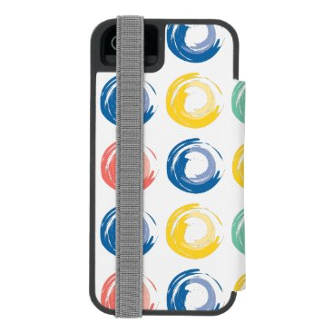 Colorful Circles, Pink, Blue, Yellow and Green iPhone SE/5/5s Wallet Case