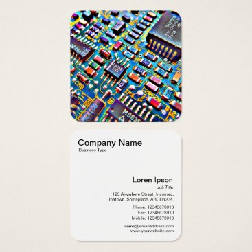 Professional Business Colorful Circuitry Square Business Card