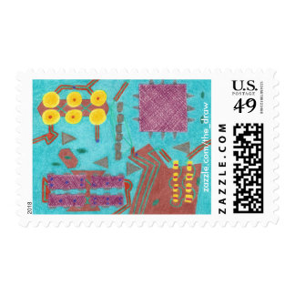 Colorful Circuits Circuit Board Postage Stamps