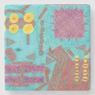 Colorful Circuits Circuit Board Stone Coaster