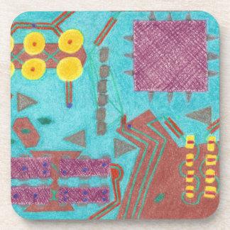 Colorful Circuits Hard Plastic Coaster Set