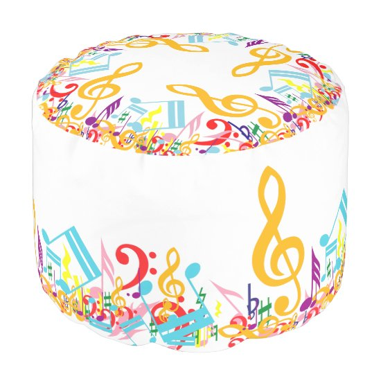 Colorful Circular Jumbled Music Notes Pouf