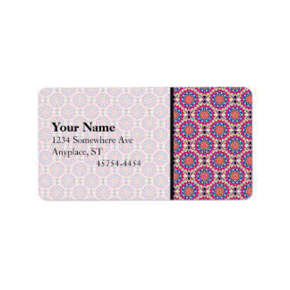 Colorful Circular Repeating Abstract Pattern Label