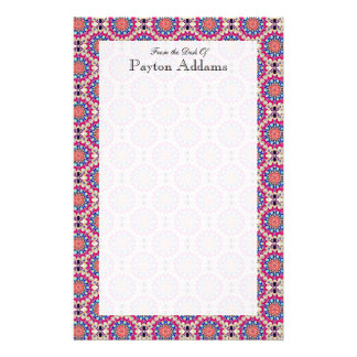Colorful Circular Repeating Abstract Pattern Stationery