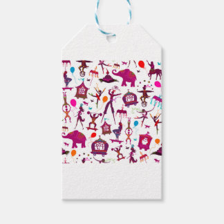 colorful circus characters on white gift tags