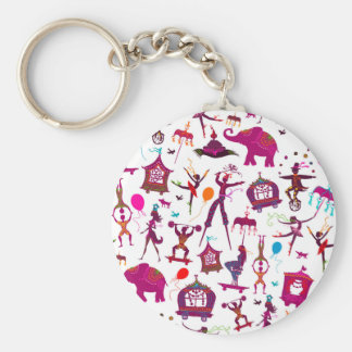 colorful circus characters on white keychain