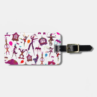 colorful circus characters on white luggage tag