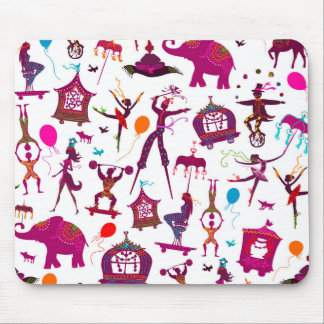 colorful circus characters on white mouse pad