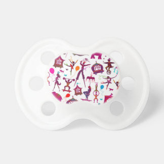 colorful circus characters on white pacifier