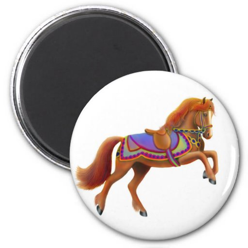 Colorful Circus Horse Magnet Round