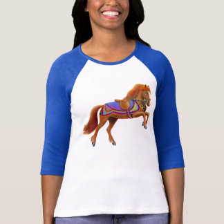 Colorful Circus Horse Raglan Jersey T-Shirt
