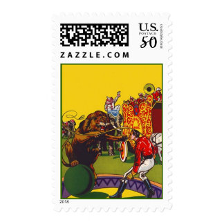 COLORFUL CIRCUS IMAGERY POSTAGE STAMPS LION TAMER