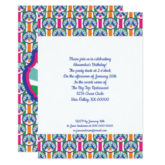 Colorful Circus Show Ponies Pattern Card