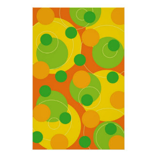 Colorful Citrus Lime Bubbly Fun Circle Dots Poster