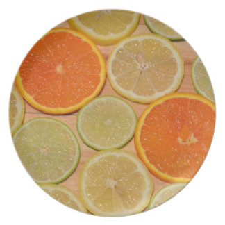 Colorful citrus slices print plate