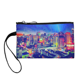 Colorful City Blues Key Coin Clutch