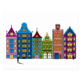 Colorful City Street Postcard