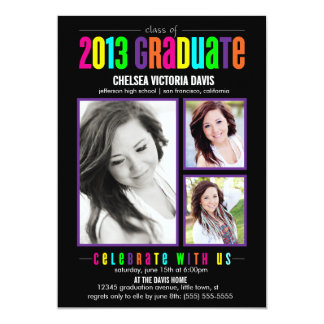 """Colorful Class of 2013 Graduate Photo Invite 5"""" X 7"""" Invitation Card"""