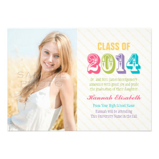 Colorful Class of 2014 Graduation Photo Personalized Announcements