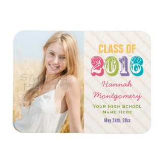 Colorful Class of 2016 Graduation Photo Magnet