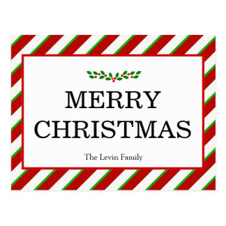Colorful Classic Merry Christmas Holiday Postcard