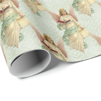 Colorful Classic Vintage Angel Quatrefoil Pattern Wrapping Paper