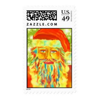 """""""Colorful Claus"""" Digital Art Santa Stamp"""