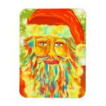 """Colorful Claus"" Santa Art By Victoria Lynn Hall Rectangular Magnet"