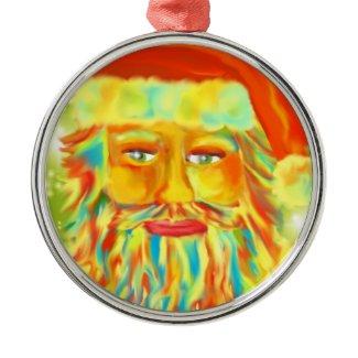 """Colorful Claus"" Santa Art Christmas Ornaments"