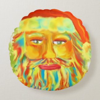 """Colorful Claus"" Santa Art Round Pillow"