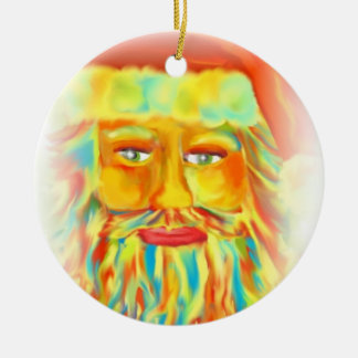 """Colorful Claus"" Santa Art Double-Sided Ceramic Round Christmas Ornament"
