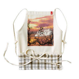 Colorful clef in the sunset zazzle HEART apron