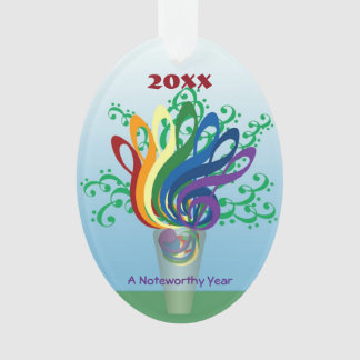 Colorful Clefs in Vase Custom Noteworthy New Year Ornament