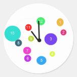 Colorful Clock Design Classic Round Sticker