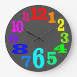 colorful clock numbers against gray background