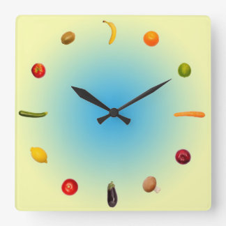 Colorful Clock with vegetables and fruits