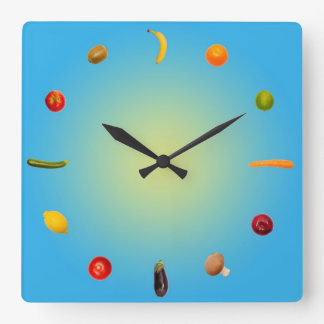 Colorful Clock with vegetables and fruits Reloj Cuadrado