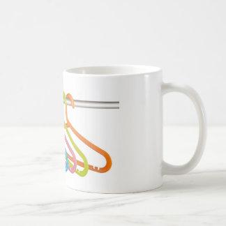 Colorful clothes hangers coffee mug