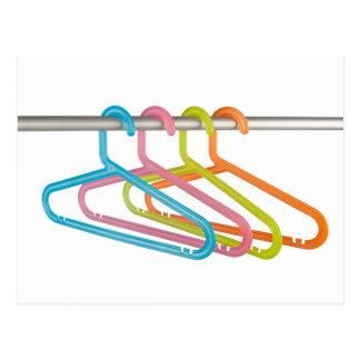 Colorful clothes hangers postcard