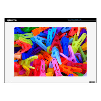 """Colorful Clothes Pins Design Decals For 15"""" Laptops"""