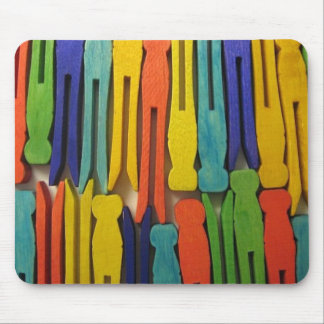 Colorful Clothespins Mouse Pad