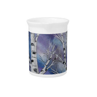 Colorful Cloudy Sky Above Birch Trees Beverage Pitcher