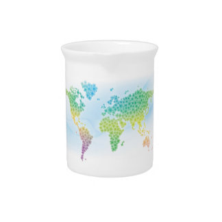 Colorful Clover World Map Beverage Pitcher