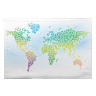 Colorful Clover World Map Cloth Placemat