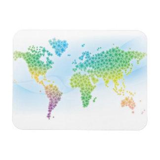 Colorful Clover World Map Rectangular Magnet