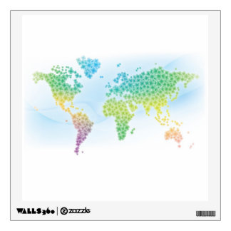 Colorful Clover World Map Room Stickers