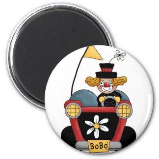Colorful Clown Car Circus Fun 2 Inch Round Magnet