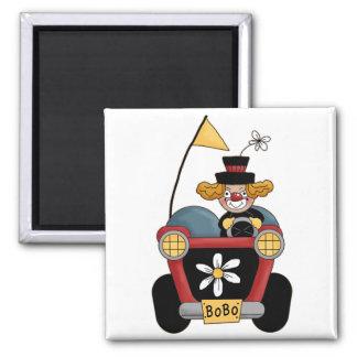 Colorful Clown Car Circus Fun 2 Inch Square Magnet