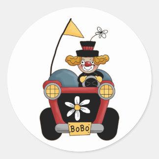 Colorful Clown Car Circus Fun Round Sticker