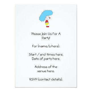 Colorful Clown Cartoon. Blue Hair. 6.5x8.75 Paper Invitation Card